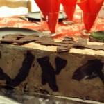 gâteau au brownie chocolat et gelée aux fruits de la passion