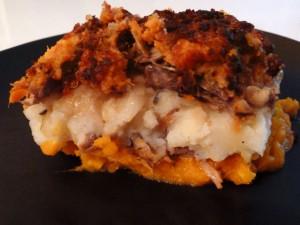 Parmentier de canard au potimarron, pommes de terre et patates douces